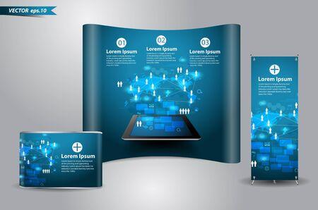 evento social: Tecnolog�a Vector concepto de negocio, diagrama de proceso de red en la computadora Tablet PC con soporte de exhibici�n de la exposici�n