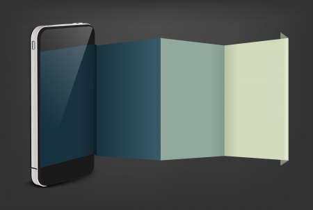 mobile advertising: Mobile phone with creative folded paper modern template design, Vector illustration