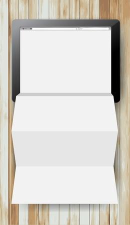 folded paper: tablet computer on wood texture background, Creative folded paper modern template design vector illustration Illustration