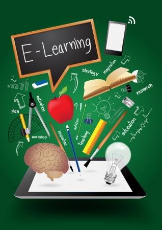 educaci�n en l�nea: Negocio de la tecnolog�a creativa, aprendizaje e idea de concepto de volar de tablet pc computadora, ilustraci�n vectorial plantilla de dise�o moderno