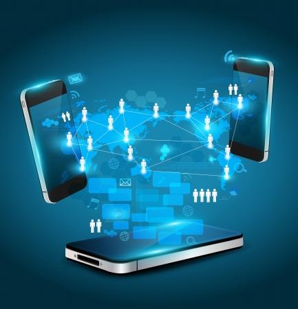Mobile phones technology business concept, Creative network information process diagram, Vector illustration modern template design  Stock Vector - 19004567