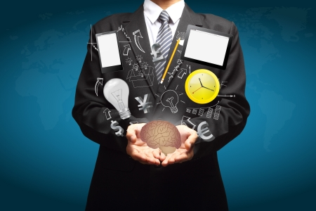 Technology business creative ideas in the hands of businessmen  Stock Photo - 19004608