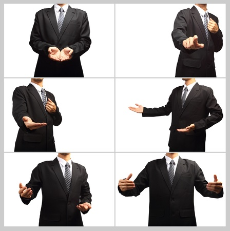 Businessman pushing on a touch screen interface, Collage isolated on white background for design work Stock Photo - 19026722