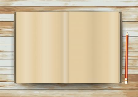 mag: Vector blanc magazine sur la texture du bois Mod�le de base pour la conception Illustration