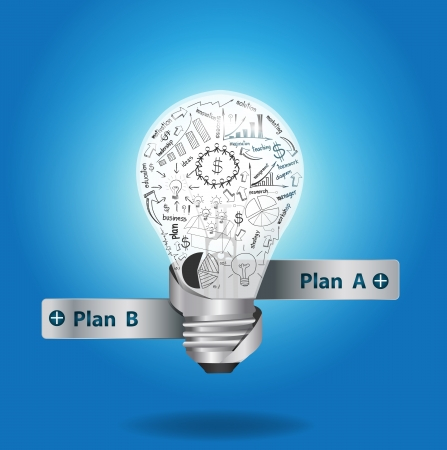 brainstorming: Light bulb with drawing graphs and charts inside, Creative business plan strategy concept idea.