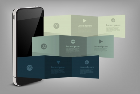 computer software: Mobile phone with creative folded paper modern template design illustration
