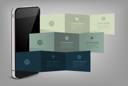 memorandum: Mobile phone with creative folded paper modern template design illustration