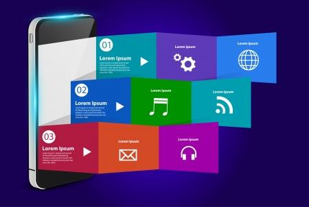 papier pli�: Tablet PC avec la conception de mod�le moderne de papier pli� cr�atif, avec des nuages ??de couleurs ic�nes de l'application illustration