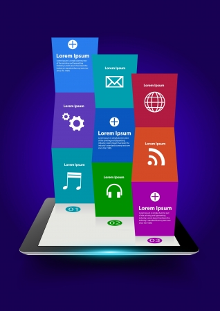tablet computer with creative folded paper modern template design, With cloud of colorful application icons illustration Vector