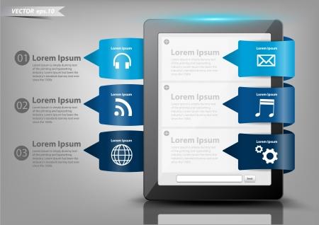 Moderna pulsante design creativo con il computer tablet, con nuvola di applicazione icone illustrazione modello di progettazione