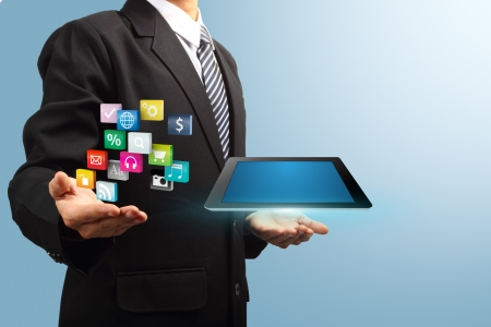 network marketing: colorful application icon with tablet computer in the hands of businessmen, Business software and social media networking service concept