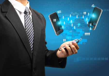 Mobile phones technology business concept, Creative network information process diagram in the hands of businessman   Stock Photo - 19381583