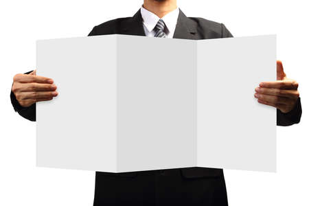 Business man holding signs, Isolated on white background with Save paths for design work   photo