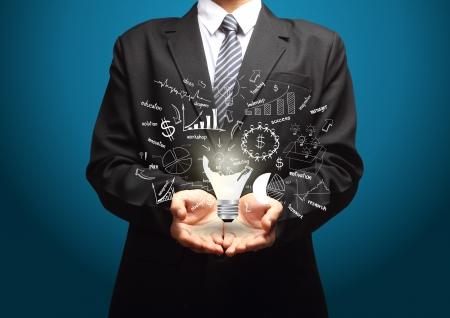 and future vision: Bombilla creativo con dibujo de negocios estrategia de plan de idea de concepto, en manos de los empresarios Foto de archivo