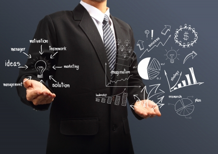 szakvélemény: Megoldás koncepció a kezében üzletemberek, kreatív rajz üzleti stratégia terv ötlet