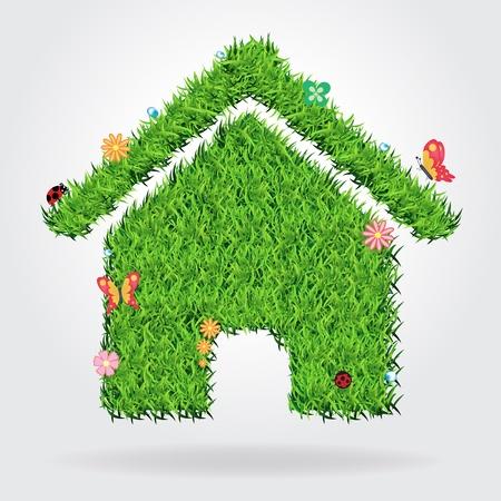 house energy: Creative eco house icon concept, vector illustration template design