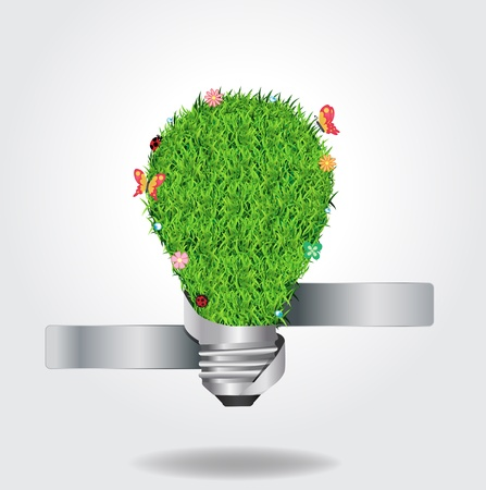 lightbulb: Creative light bulb with green grass ecological concept, Vector illustration template design