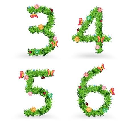 grass font: Grass font, Creative ecological concept vector illustration template design