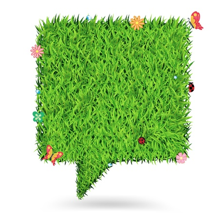 Speech bubble green grass texture background, Ecological concept Vector Illustration template design Vector