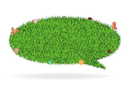 Speech bubble green grass texture background, Ecological concept Vector Illustration template design Stock Vector - 19551917