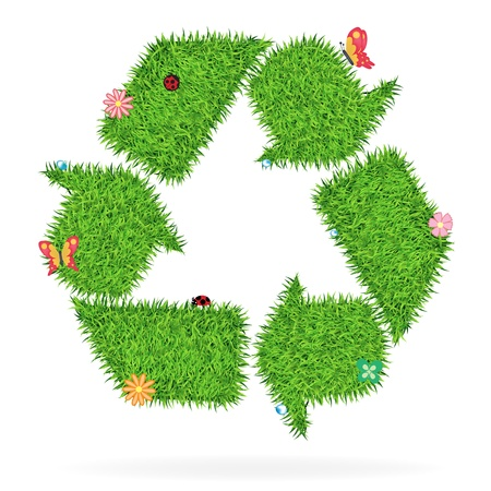 recycling symbol: Grass recycle symbol, Ecological concept vector illustration