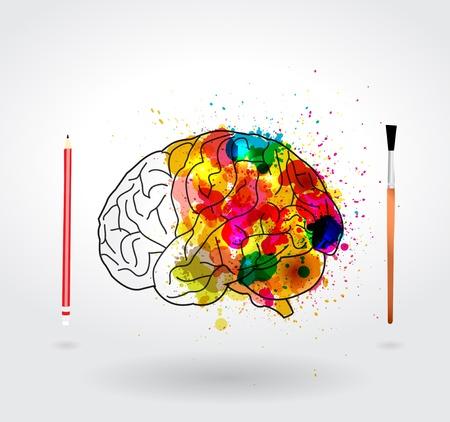 cerebro humano: Cerebro Creatividad, ilustraci�n vectorial dise�o de la plantilla