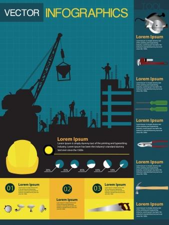 alba�il: Construcci�n infograf�a contiene varios iconos de herramientas y casas, ilustraci�n vectorial plantilla de dise�o moderno