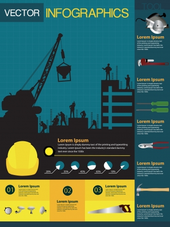 construction safety: Construction info-graphics containing various icons of tools and houses, Vector illustration modern template design