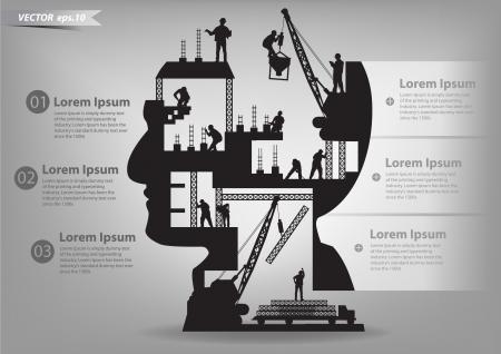 tvůrčí: Budova ve výstavbě s pracovníky v Silueta hlavy, šablonu návrhu vektorové ilustrace Ilustrace