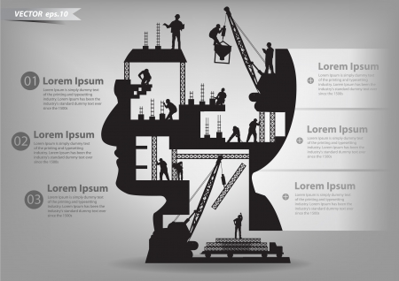 mente: Edificio en construcci�n con los trabajadores en la silueta de una cabeza, ilustraci�n vectorial dise�o de la plantilla Vectores