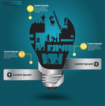 ingegneri: Creativo lampadina con la costruzione idea lavoratore, vettore, illustrazione moderno modello di progettazione