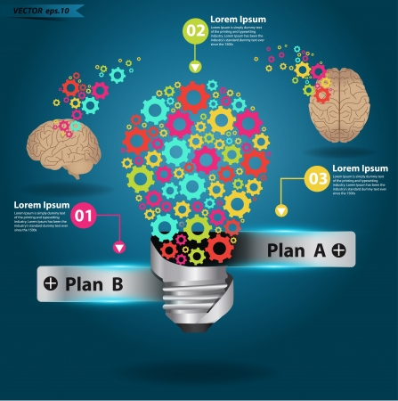 knowledge concept: Brain gears in light bulb idea, Vector illustration template design Illustration