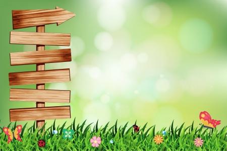 prato e cielo: Sfondo verde naturale con legno di cartello, illustrazione vettoriale modello di progettazione Vettoriali