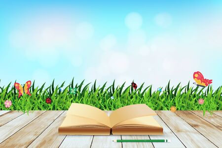 agriculture wallpaper: Fresh spring green grass with blue sky bokeh and open book and wood floor. Beauty natural background, Vector illustration template design
