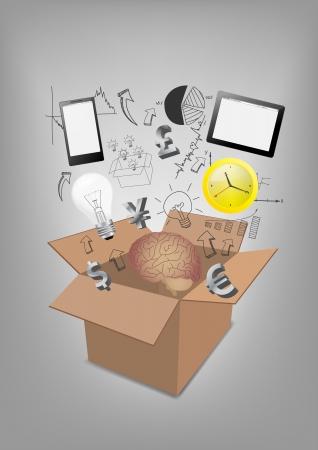 phone box: Open box communication technology business concept idea, Vector illustration Modern template Design