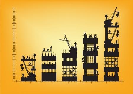 construction management: Operaio edile silhouette al lavoro, infografica creativi tabelle e grafici illustrazione vettoriale template design Vettoriali