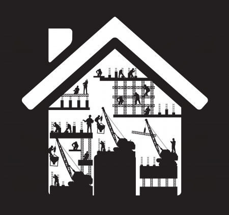 property management: Home icon construction worker silhouette at work, Vector illustration template design