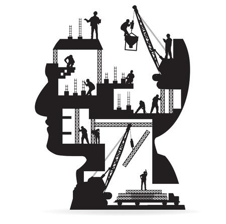 edificio industrial: Edificio en construcci�n con los trabajadores en la silueta de una cabeza, ilustraci�n vectorial dise�o de la plantilla Vectores