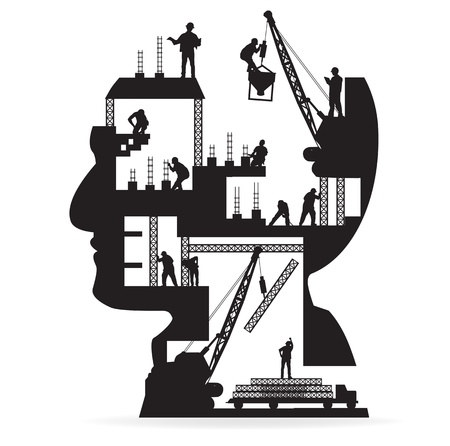 baustellen: Geb?ude im Bau mit den Arbeitnehmern in der Silhouette eines Kopfes, Vektor-Illustration Template-Design