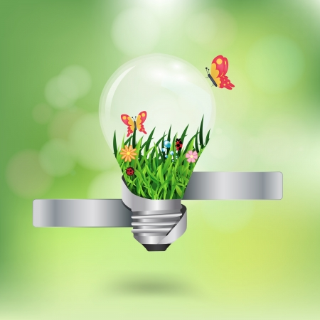 save electricity: light bulb with beautiful flower inside with green bokeh abstract light background, Vector illustration template design