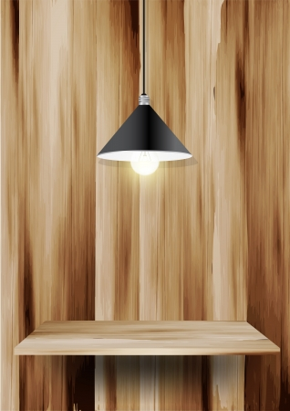 Wood shelf and lamp, Vector illustration template design Vector