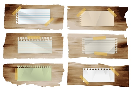 Collection of vaus note papers stick on wood planks background, Vector illustration template design Stock Vector - 19714802
