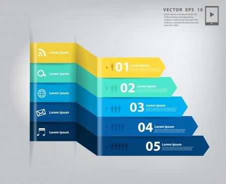 mobile advertising: Modern minimal business step style options banner infographics   Illustration