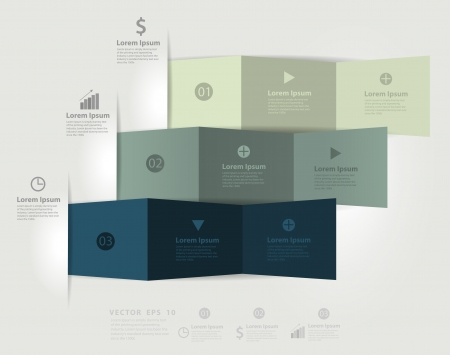 cover background time: Modern business step origami style options infographics banner    Illustration