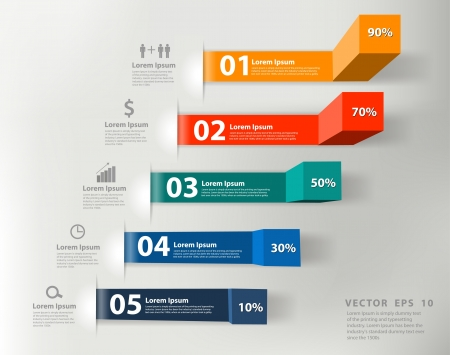 paper graphic: Modern business steps to success charts and graphs options banner
