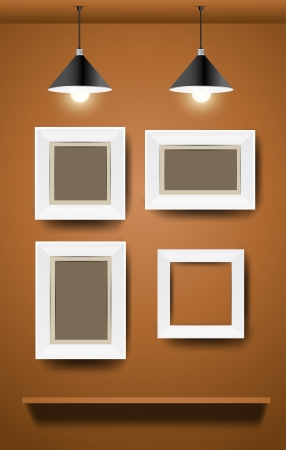 White modern frames on wall, vector illustration  Vector