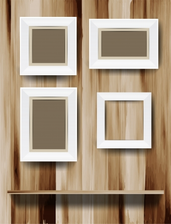 White modern frames on wood wall, vector illustration  Vector