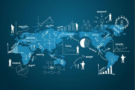 planlama: Infographics ve grafik yaratıcı çizim iş stratejisi planı kavramı fikir unsurları ile modern global iş ekonomi, Vector illustration tasarım şablonu