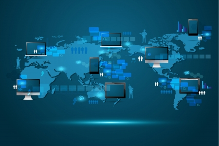 Modern global business technology concept