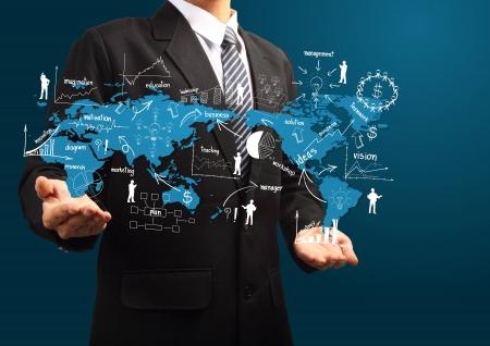 INTERNATIONAL BUSINESS: Plan de negocios global de la mano de hombre de negocios, con la estrategia de negocio creativo dibujo plan de idea concepto